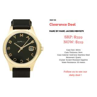 [Clearance] MARC BY MARC JACOBS MBM1374 Black Dial Black Leather Strap Ladies Watch