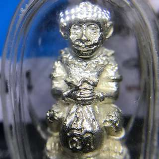 Aj Kam 灵猴 Ling Monkey amulet kalai Ngern silver plated with waterproof casing B.E.2560