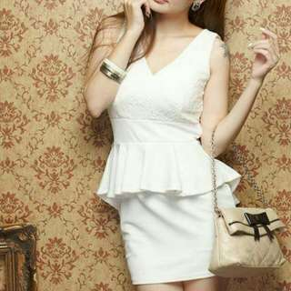 Korean White Lace Dress Peplum Dress
