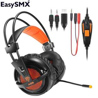 EasySMX A55 Gaming Headset Headphones Super Bass Over Ear Noise Isolating Breathing LED Lights Headset for PC PS4 New Xbox one