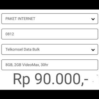Paket Internet Telkomsel 8GB 30hari