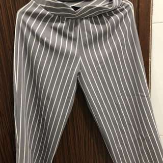 Pants Stripes White Blue