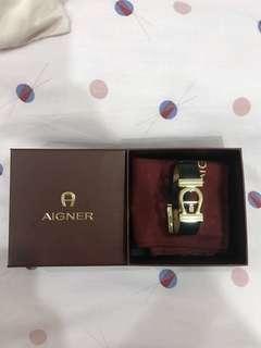 AIGNER leather bracelet black NEW & AUTHENTIC