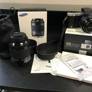 Samsung NX3000 20.3MP Mirrorless Digital Camera W/ 20-50mm & 50-200mm Lens