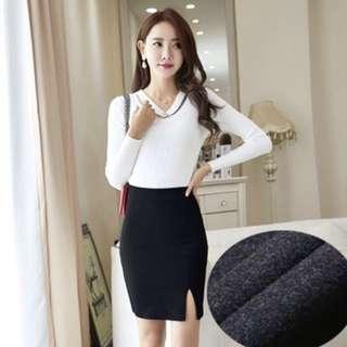 Bnip Asymmetrical Pencil Skirt (black, INSTOCK)