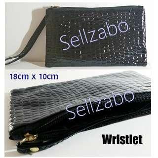 Glossy Black Zip Pouch Textured PU Wristlet Bag Sellzabo