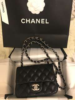 Chanel Flap bag 銀扣牛皮(17X13.5X8cm)