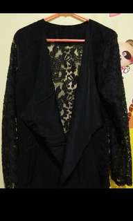 Blazer brokat hitam