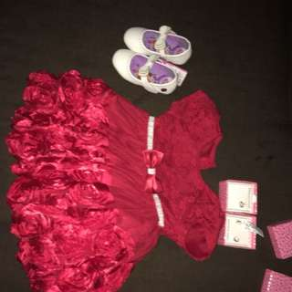 Red floral dress and sofia the first shoes size 21