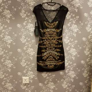 Guess black dress with sequin embrodery