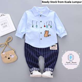 (Ready Stock KL) Baby Clothing Boys Clothing Baby Boy Shirt Pant Suit Cat Shirt Set Wear (0-4yrs)