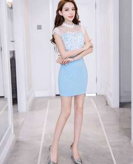 PO : Sizes Available From S To XL. Super Classy And Chic Korean Style High Neck/High Collar Design Cat Sleeves Translucent Lace Bodycon/Body Hugging Baby Blue Dress