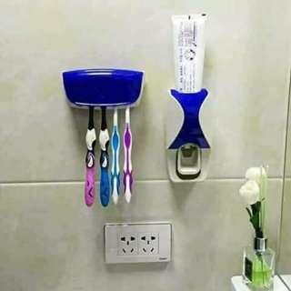 Toothpaste Dispenser & Toothbrush Holder