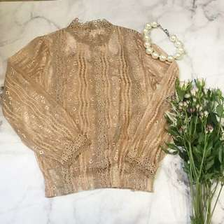 Made in Korea Nude Floral Lace Top