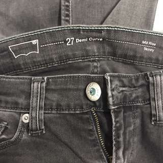Levi's Grey Mid-rise Skinny Jeans