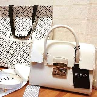Furla 兩用 白色 荔枝皮 手袋 handbag