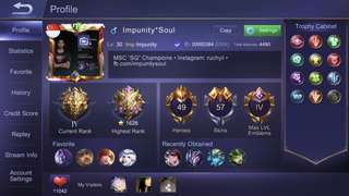 Mobile Legends Account (IOS) Impunity*Soul