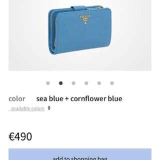 Prada 意大利 專門店 有正單 最新款藍色 拼色 大銀包