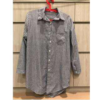長板條紋襯衫(藍)