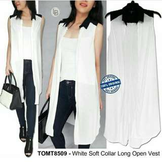 Tom Tailor White Soft Collar Long Open Vest