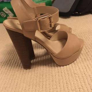 Nude Gold Buckle Heels