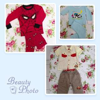 JBaby smart top & long pant, Hush puppies & spiderman Pyjamas
