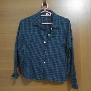 Dark blue checkered top