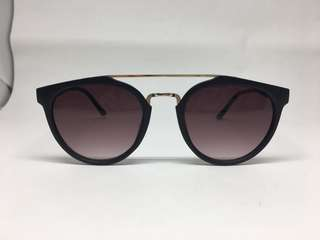 Gold Brow Bar Black Circle Sunglasses