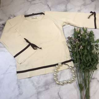 Made in Korea Creamy Colour Knitted Top with ribbon