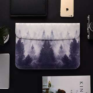 BN Instock Monochrome Black and White Trees Laptop Sleeve