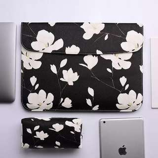 BN Instock Black and White Monochrome Floral Macbook laptop sleeve