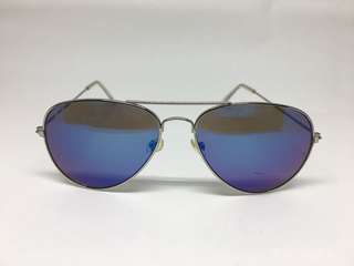 Blue & Purple Reflective Silver Metallic Aviator Sunglasses