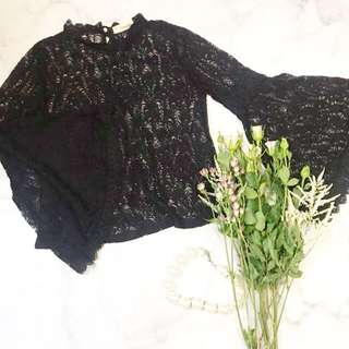 Made in Korea Black Lace Top with Flared Sleeves