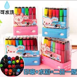 Marker and stamper Stationery Set