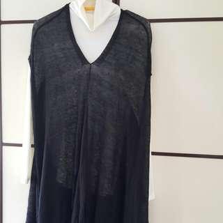 initial 黑色針織長背心 size 2