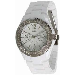 U0062L7 - Guess Quartz Silver Tone White Plastic Women's Watch