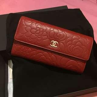 全新Chanel Wallet 山茶花 紅色 羊皮長銀包