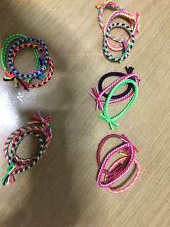 Colourful elastic hair ties