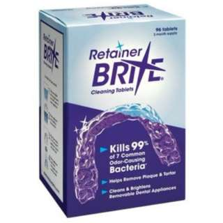 Retainer Brite, 96 tablets, 3 months supply - Braces Retainers Cleanser Cleaning Tablets Solution.