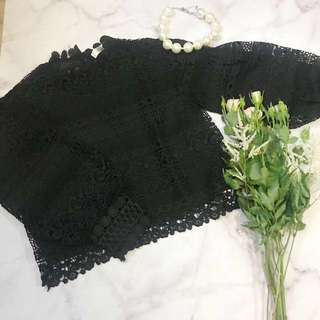Made in Korea Black Lace Mesh Top with Lantern Sleeves