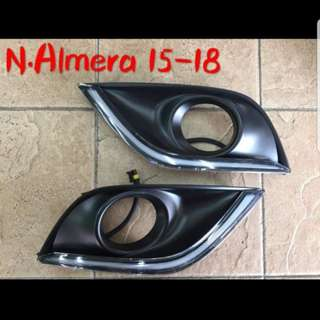 Nissan Almera Fog Lamp Cover With DRL 15-18
