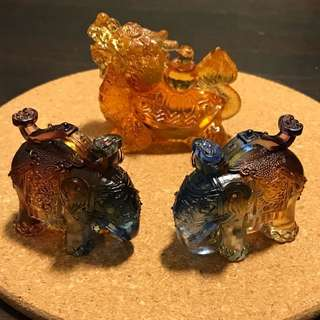 古法琉璃 龙龟 小象 金蝉 MINI CRYSTAL DRAGON TURTLE ELEPHANT WEALTH FETCH TOAD