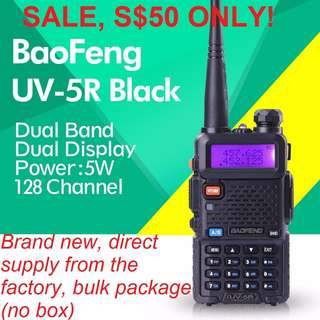🔥S$50 🔥 Clearance SALE!!! Black BaoFeng UV-5R 5W Walkie Talkie Transceiver Dual Band VHF/UHF 136-174Mhz & 400-520Mhz EXPORT only!!! Bulk package (No box) Long range