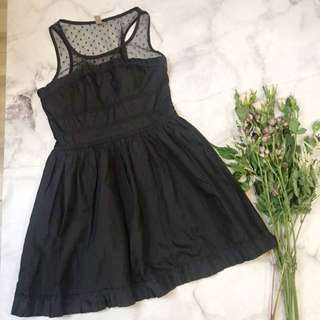 Black Party Dress with Dotted Mesh Top