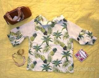 Green pineapple blouse
