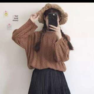 Knitted crochet oversized pullover sweater