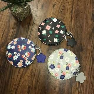 花朵圓形軟皮鑰匙圈零錢包