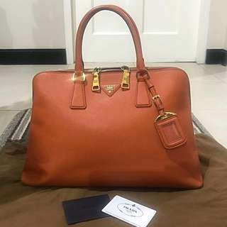 Authentic Prada Papaya Saffiano Lux Leather Top Handle