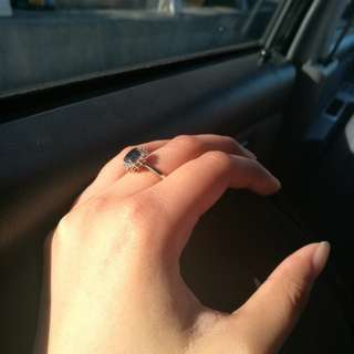 Blue Sapphire Diamond Ring - 18k WG