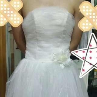 白色小婚紗 (連頭紗)